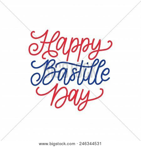 Happy Bastille Day Concept. Color Background Of French National Flag. 14th July Design For Greeting
