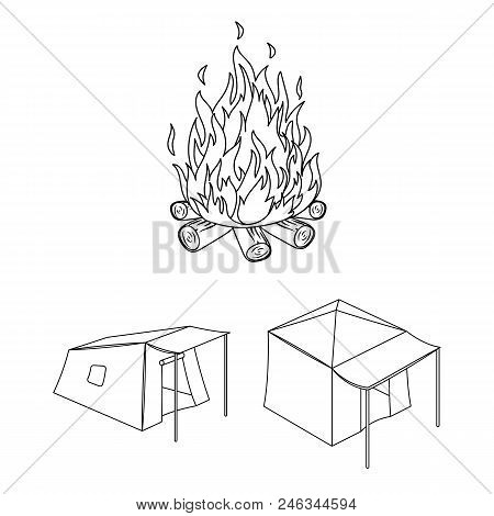 Different Kinds Of Tents Outline Icons In Set Collection For Design. Temporary Shelter And Housing V