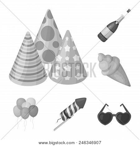 Party, Entertainment Monochrome Icons In Set Collection For Design. Celebration And Treat Vector Sym
