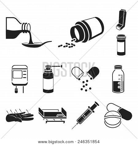 Medicine And Treatment Black Icons In Set Collection For Design. Medicine And Equipment Vector Symbo