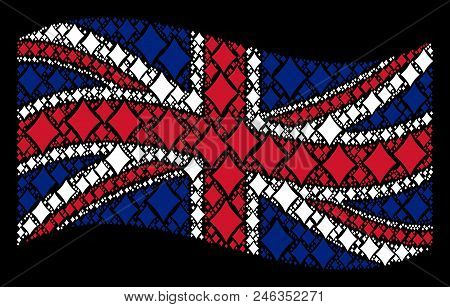 Waving British State Flag On A Black Background. Vector Diamonds Suit Design Elements Are Combined I