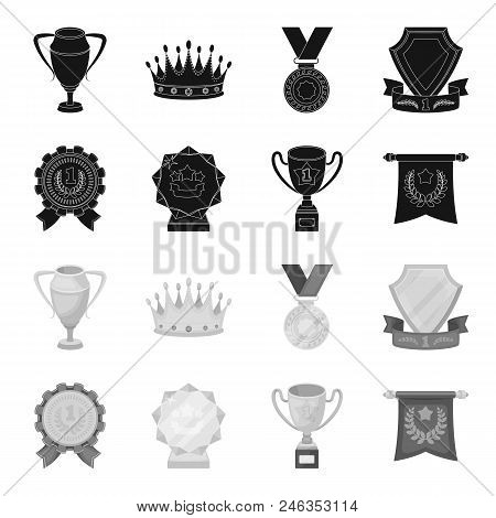 An Olympic Medal For The First Place, A Crystal Ball, A Gold Cup On A Stand, A Red Pendant.awards An