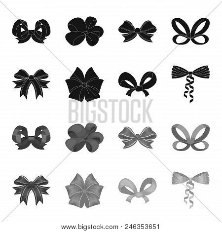 Bow, Ribbon, Decoration, And Other  Icon In Black, Monochrome Style. Gift, Bows, Node Icons In Set C