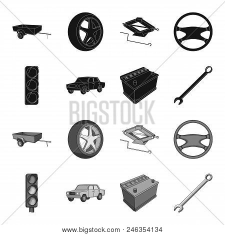 Traffic Light, Old Car, Battery, Wrench, Car Set Collection Icons In Black, Monochrome Style Vector