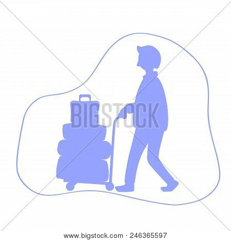 Man With Luggage Trolley Silhouette Vector Illustration. Tourist With Many Travel Cases. Travelling
