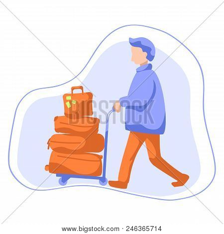 Man With Luggage Trolley Flat Style Vector Illustration. Tourist With Many Travel Cases. Travelling