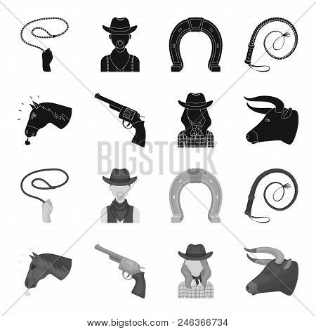 Head Of A Horse, A Bull Head, A Revolver, A Cowboy Girl. Rodeo Set Collection Icons In Black, Monoch