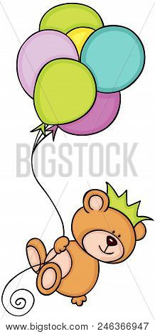 Scalable Vectorial Representing A Teddy Bear With Crown Flying With Balloons, Element For Design, Il
