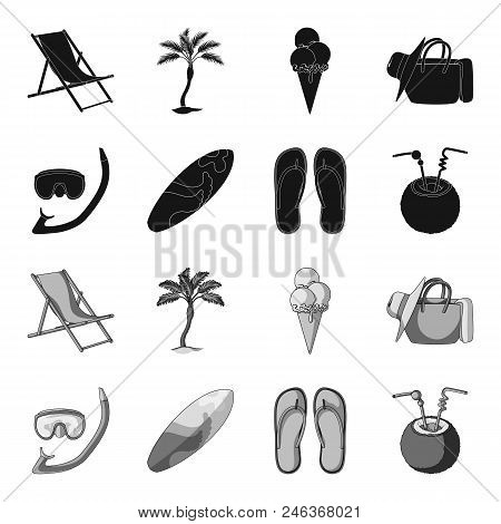 Diving, Surfing, Cocktail.summer Vacation Set Collection Icons In Black, Monochrome Style Vector Sym