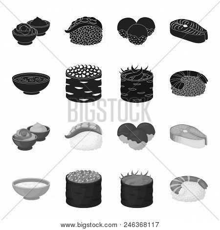 Bowl Of Soup, Caviar, Shrimp With Rice. Sushi Set Collection Icons In Black, Monochrome Style Vector