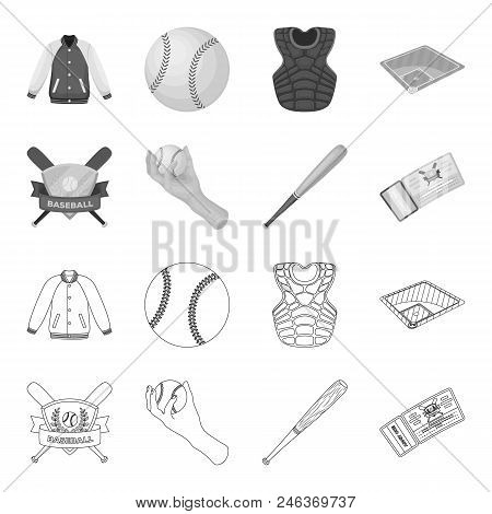 Club Emblem, Bat, Ball In Hand, Ticket To Match. Baseball Set Collection Icons In Outline, Monochrom