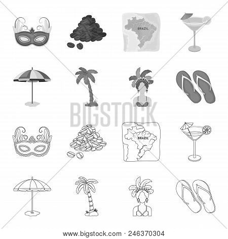 Brazil, Country, Umbrella, Beach . Brazil Country Set Collection Icons In Outline, Monochrome Style