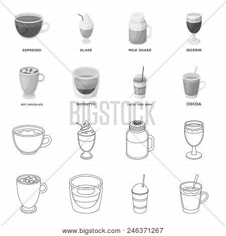 Ristretto, Hot Chocolate, Latte Take-away.different Types Of Coffee Set Collection Icons In Outline,