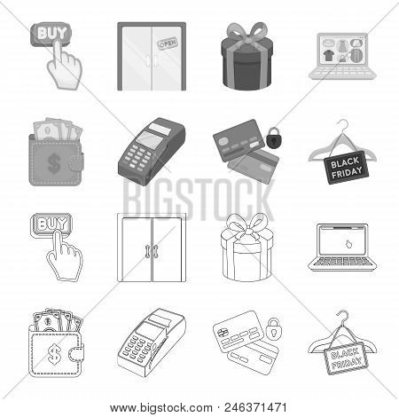 Purse, Money, Touch, Hanger And Other Equipment. E Commerce Set Collection Icons In Outline, Monochr