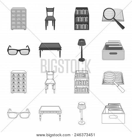 Glasses, A Wooden Table, A Floor Lamp, A Box With Books. A Library And A Bookstore Set Collection Ic