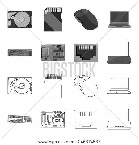 Keyboard, Router, Motherboard And Connector. Personal Computer Set Collection Icons In Outline, Mono