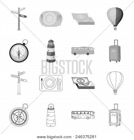 Vacation, Travel, Lighthouse, Compass .rest And Travel Set Collection Icons In Outline, Monochrome S