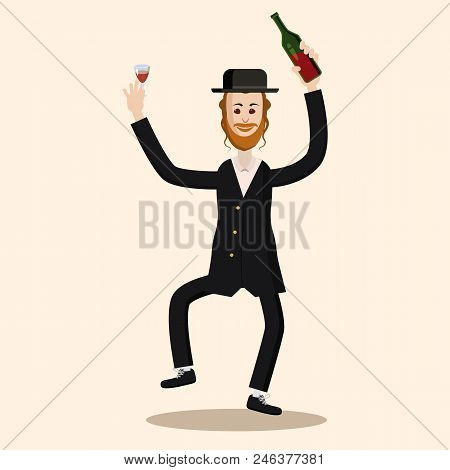 Funny Vector A Dancing Jew Character Happy Shavuot Holiday Card. Cartoon Style
