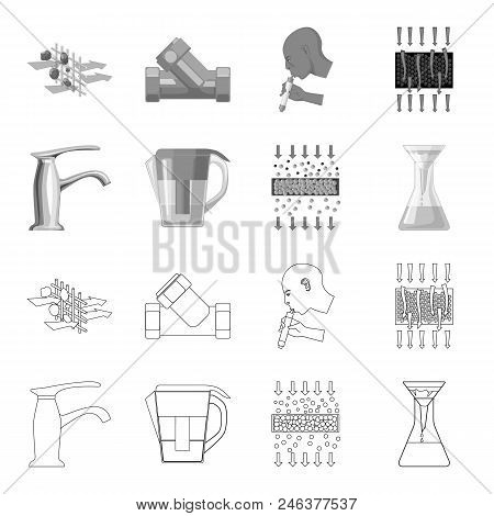 Man, Bald, Head, Hand .water Filtration System Set Collection Icons In Outline, Monochrome Style Vec