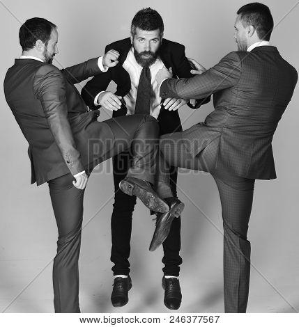 Businessmen Wear Smart Suits And Ties. Argument And Business Concept. Leaders Have Argument And Beat