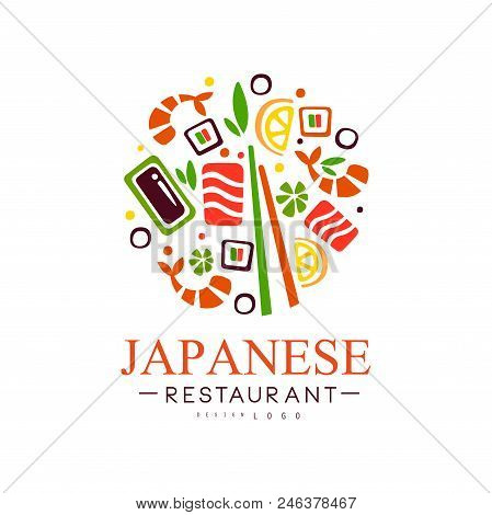 Japanese Restaurant Logo Design, Authentic Traditional Continental Food Label Vector Illustration Is
