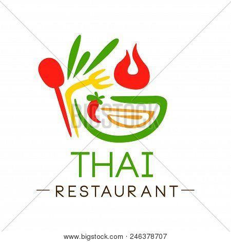 Thai Restaurant Logo Design, Authentic Traditional Continental Food Label Vector Illustration Isolat