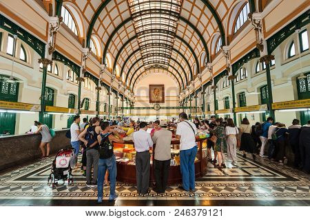 Ho Chi Minh, Vietnam - March 07, 2018: Saigon Central Post Office Is A Post Office In The Downtown H
