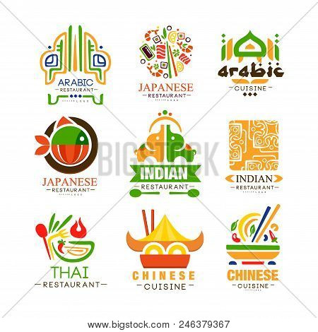 Continental Cuisine Logo Design Set, Arabic, Japanese, Thai, Chinese, Indian Authentic Traditional C