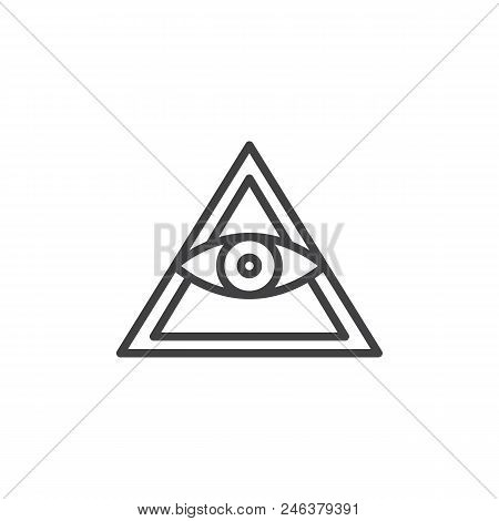 All Seeing Eye Pyramid Outline Icon. Linear Style Sign For Mobile Concept And Web Design. Mason Pyra