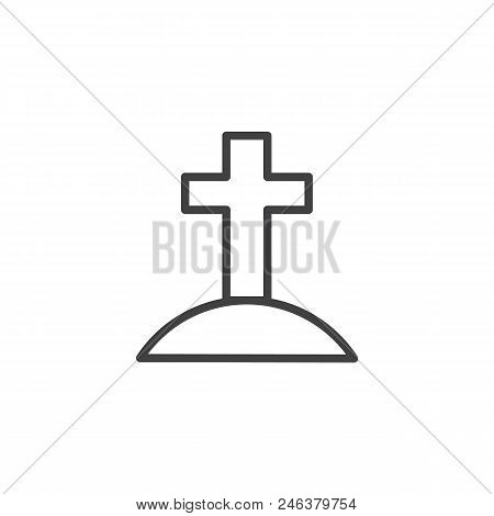 Calvary With Cross Outline Icon. Linear Style Sign For Mobile Concept And Web Design. Jesus Christ C