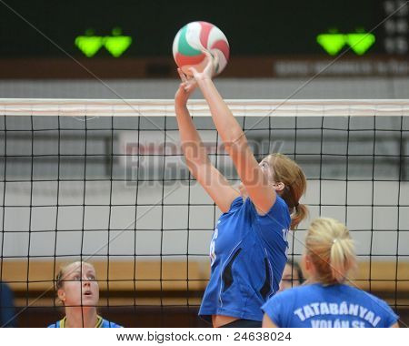 KAPOSVAR, HUNGARY - OCTOBER 2: Unidentified players in action at a Hungarian NB I. League volleyball game Kaposvar (yellow number) vs Tatabanya (white number), October 2, 2011 in Kaposvar, Hungary.