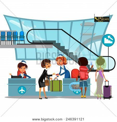 Check In Airport With Lady On Counter And Man And Woman Passengers With Luggage Vector Illustration,