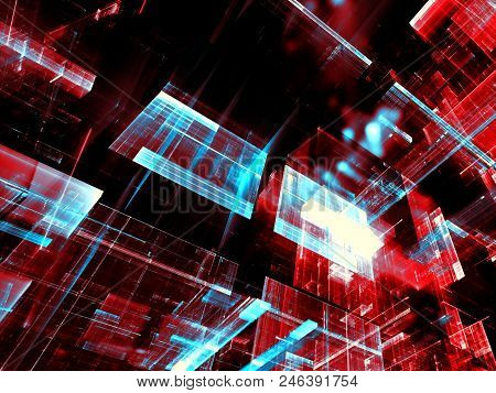 Glass Blocks - Technology Background. Abstract Computer-generated 3d Illustration. Fractal Art - Fut