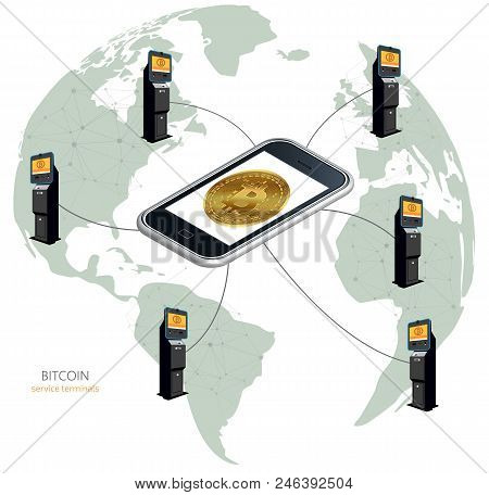 Physical Coin. Digital Currency. Cryptocurrency. Bitcoin Around The World In Atms, Bitcoin Terminals