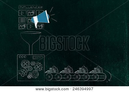 Social Media Marketing Conceptual Illustration: Factory Machine Turning Influencer Megaphones With P