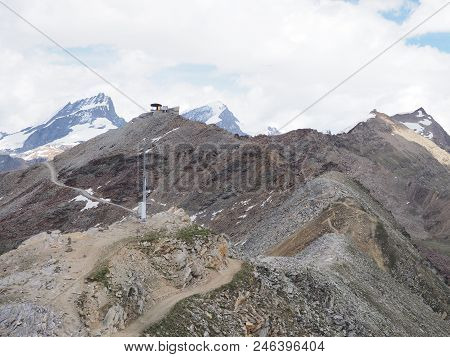 Awesome Geological Alpine Mountains Range Landscapes In Swiss Alps At Switzerland, Rocky Scenery Fro