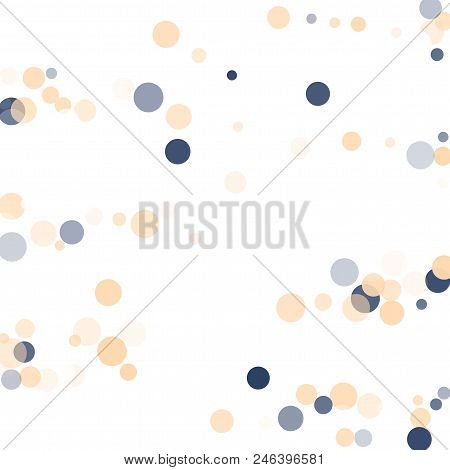 Abstract White Background With Golden, Blue Confetti Transparent Dots. Elements Of Different Size, C