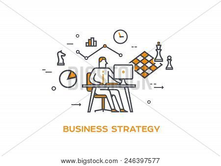 Businessman Is Planning New Strategy. Chess Board Is Hanging Above Computer As Strategy Planning Sig