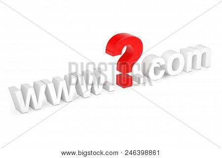 Internet Search Concept. Www Question Mark Com Site Name On A White Background. 3d Rendering