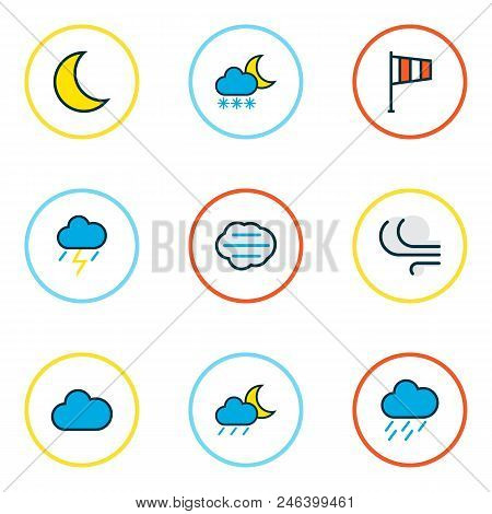 Weather Icons Colored Line Set With Midnight, Windy, Clouded And Other Freeze Elements. Isolated Vec