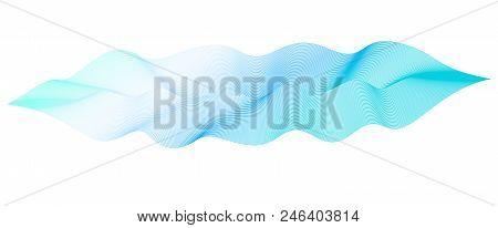 Vector Dynamical Waveform. Pulsating Line Art Design Element. Abstract Blue, Aquamarine Wavy Striped