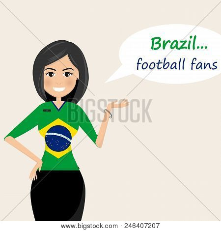 Brazil Football Fans.cheerful Soccer Fans, Sports Images.young Woman,pretty Girl Sign.happy Fans Are