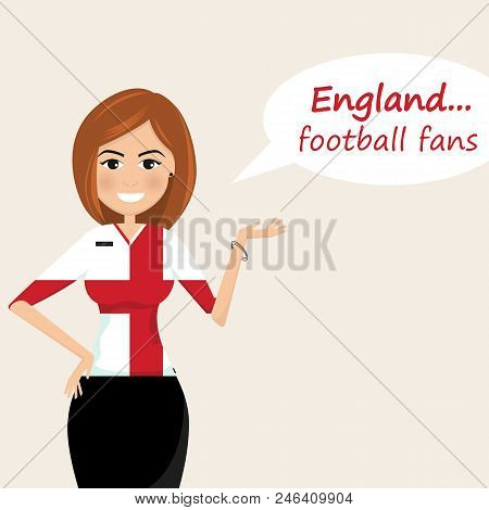 England Football Fans.cheerful Soccer Fans, Sports Images.young Woman,pretty Girl Sign.happy Fans Ar