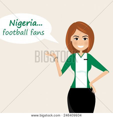 Nigeria Football Fans.cheerful Soccer Fans, Sports Images.young Woman,pretty Girl Sign.happy Fans Ar