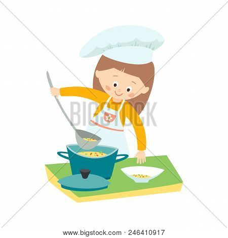 Little Girl Cooking A Soup. Little Chef. Vector Hand Drawn Eps 10 Clip Art Illustration Isolated On
