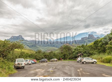 Royal Natal National Park, South Africa - March 15, 2018: The Parking Area At The Start Of Tugela Go