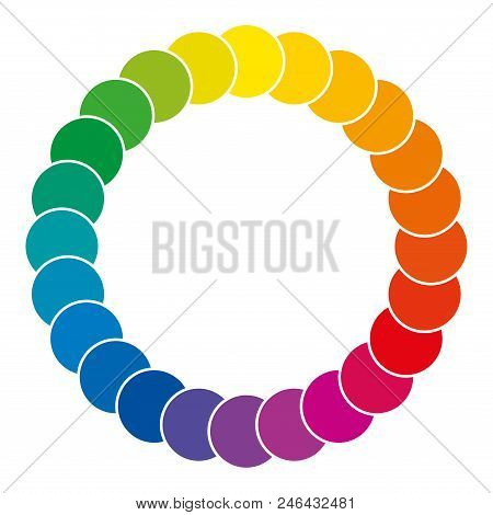 Color Wheel Made Of Circles. Rainbow Colored Circles Showing Mixed Complementary Colors That Are Use