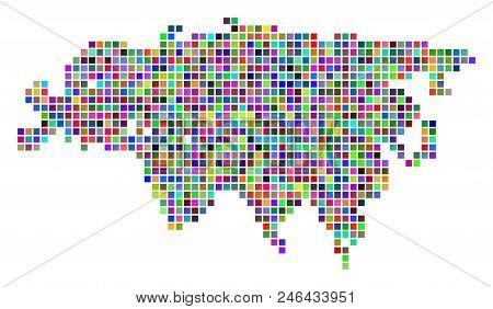 Multicolored Dot Eurasia Map. Vector Composition Of Eurasia Map Organized Of Dot Elements. Vector Ge