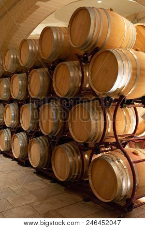 Modern Bio Wine Production Factory In Italy, Caves With French Of Americal Oak Barrels Used For Agin