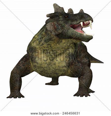 Estemmenosuchus Mirabilis Dinosaur On White 3d Illustration - Estemmenosuchus Mirabilis Was An Omniv